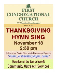 Thanksgiving Hymn Sing @ First Congregational Church